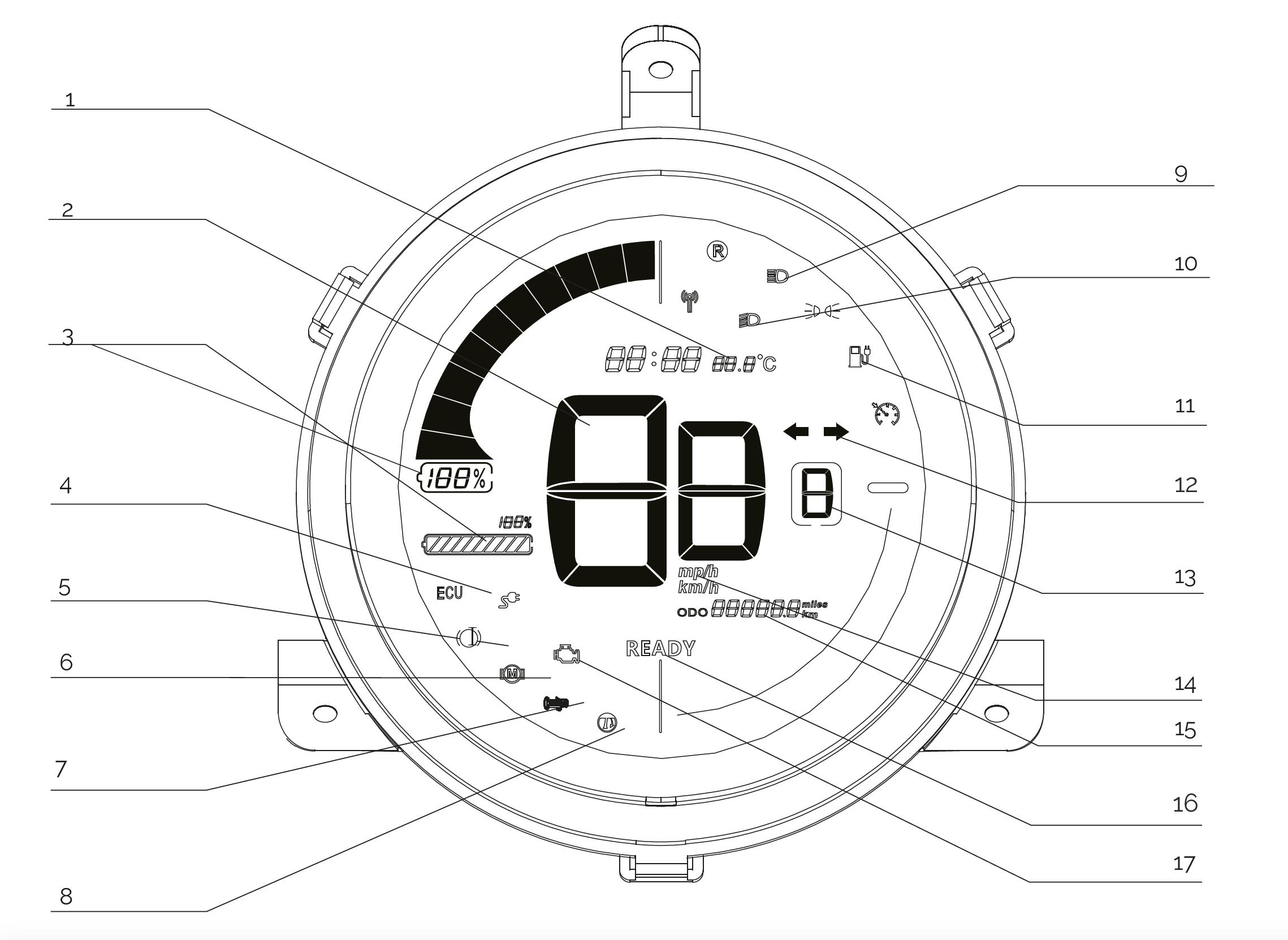 Tacho des Nova Motors S6 max Elektro-Motorrollers