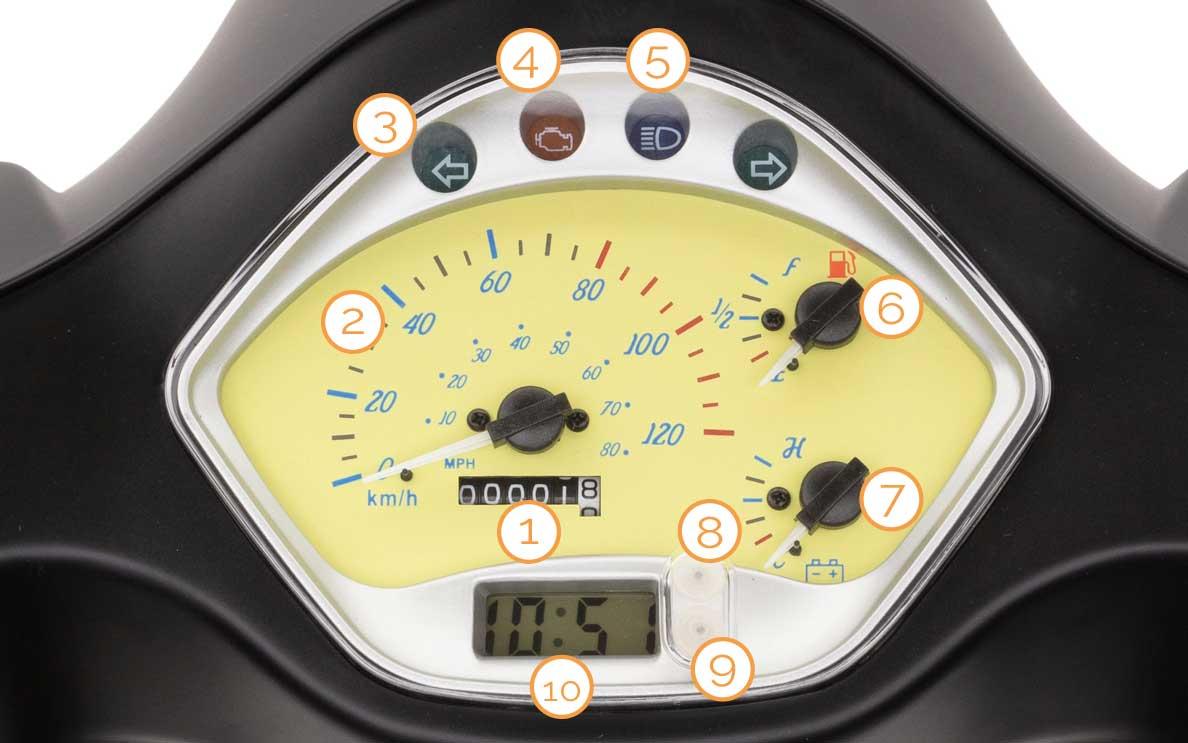 Cockpit/Tacho des Estate Motorrollers von Nova Motors