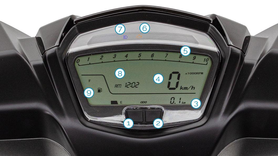 Cockpit/Tacho des GT5 Motorrollers von Nova Motors