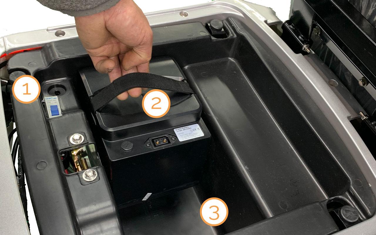 Platz der Lithium-Ionen-Akkupacks im Kofferraum des Nova Motors Bendi Standard li