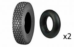 2 Stk Reifen inkl. Schlauch 4.10/3.50-5, 4PR, TT