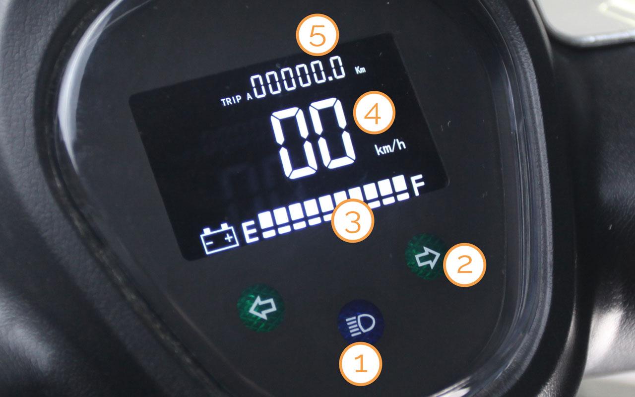 Digitaltacho des Bendi Premium Dreirad-Motorrollers
